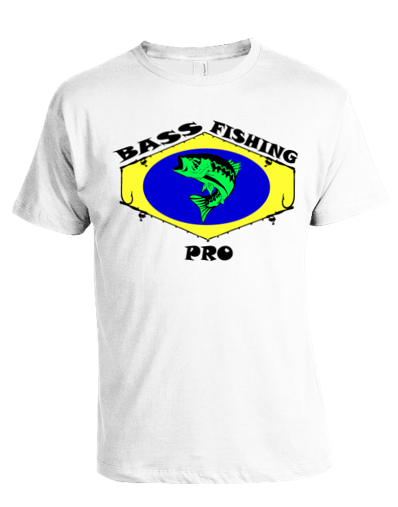 Bass fishing pro t shirt white for Bass fishing shirt